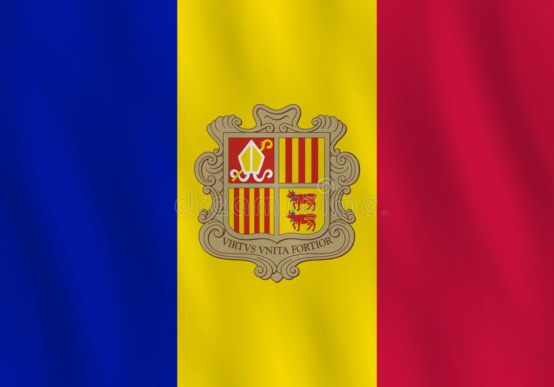 Andorra flag with waving effect, official proportion.  stock illustration
