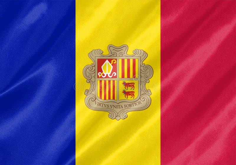 Andorra Flag. With waving on satin texture stock photos