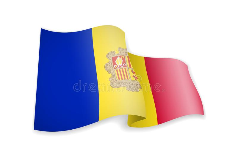 Andorra flag in the wind. Flag on white vector illustration. Andorra flag in the wind. Flag on white background vector illustration royalty free illustration