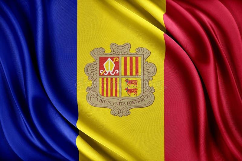 Andorra flagga Flagga med en glansig siden- textur vektor illustrationer