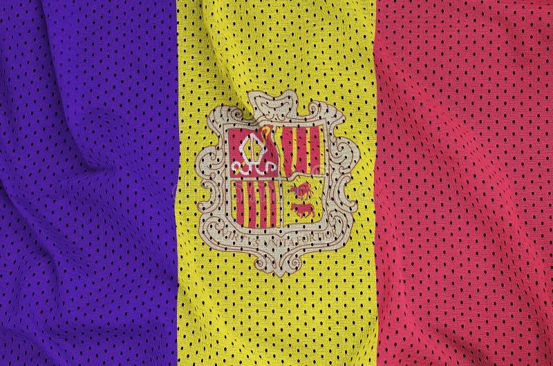 Andorra-Flagge druckte auf einem Polyester-Nylonsportkleidungsmaschengewebe vektor abbildung
