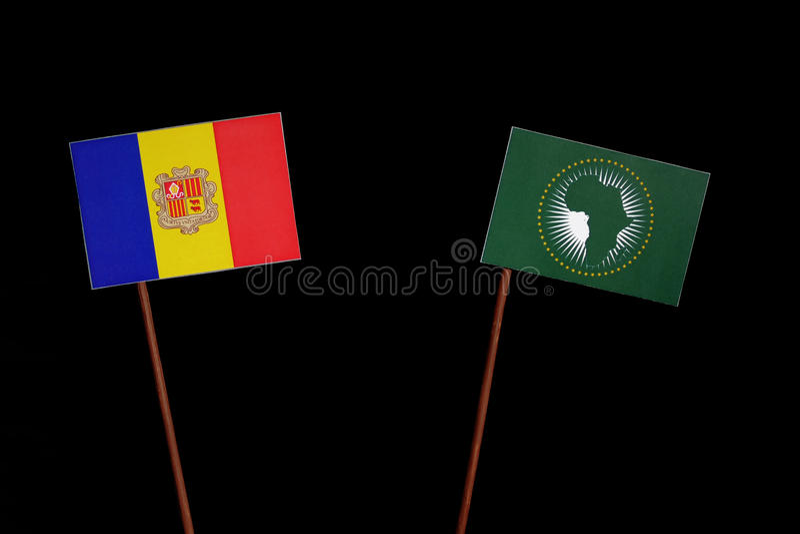 Download Andorra-Flagge Mit Der Flagge Der Afrikanischen Union Lokalisiert Auf Schwarzem Stockfoto - Bild von geschäft, schwarzes: 96931448