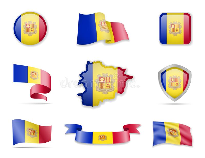 Andorra flags collection. Vector illustration set flags and outline of the country. Andorra flags collection. Flags and outline of the country vector stock illustration
