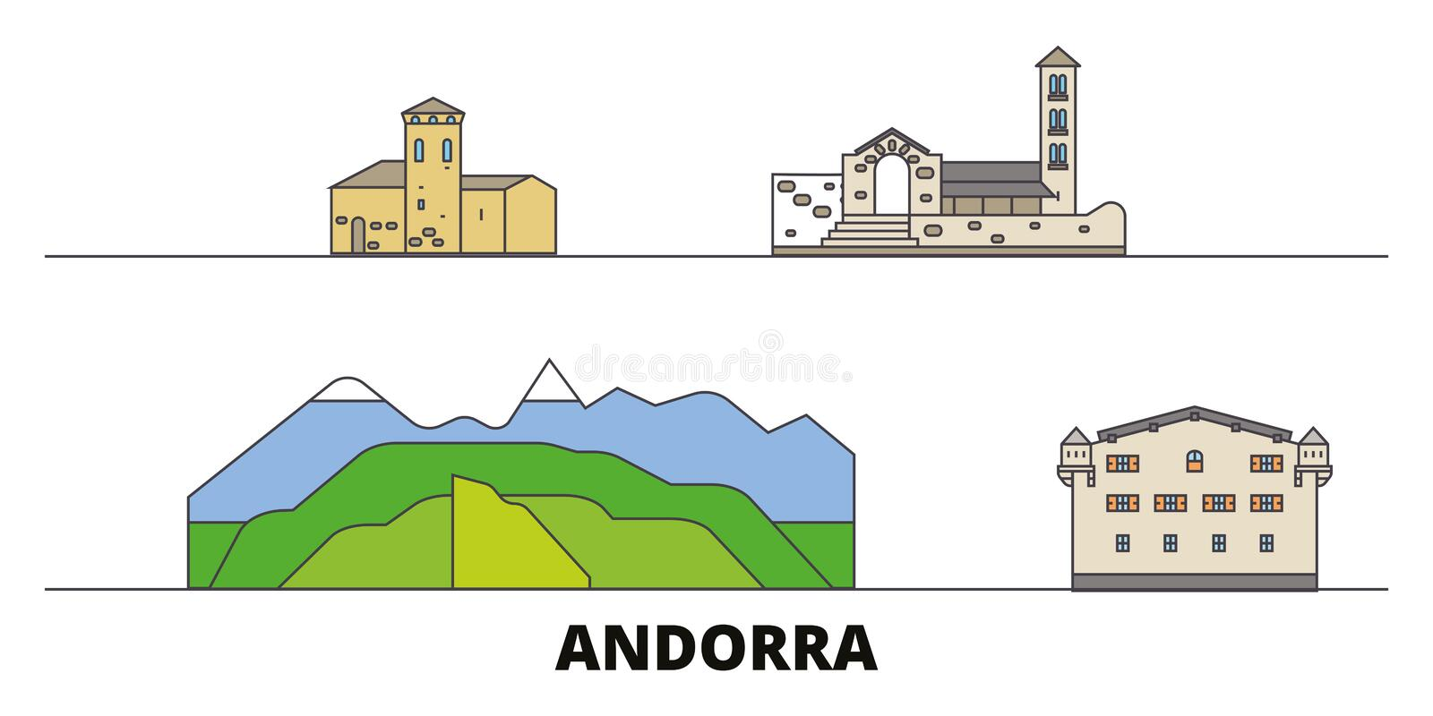 Andorra flat landmarks vector illustration. Andorra line city with famous travel sights, skyline, design. Andorra flat landmarks vector illustration. Andorra stock illustration