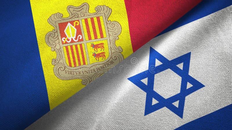 Andorra i Izrael dwa flagi tekstylny p??tno, tkaniny tekstura royalty ilustracja