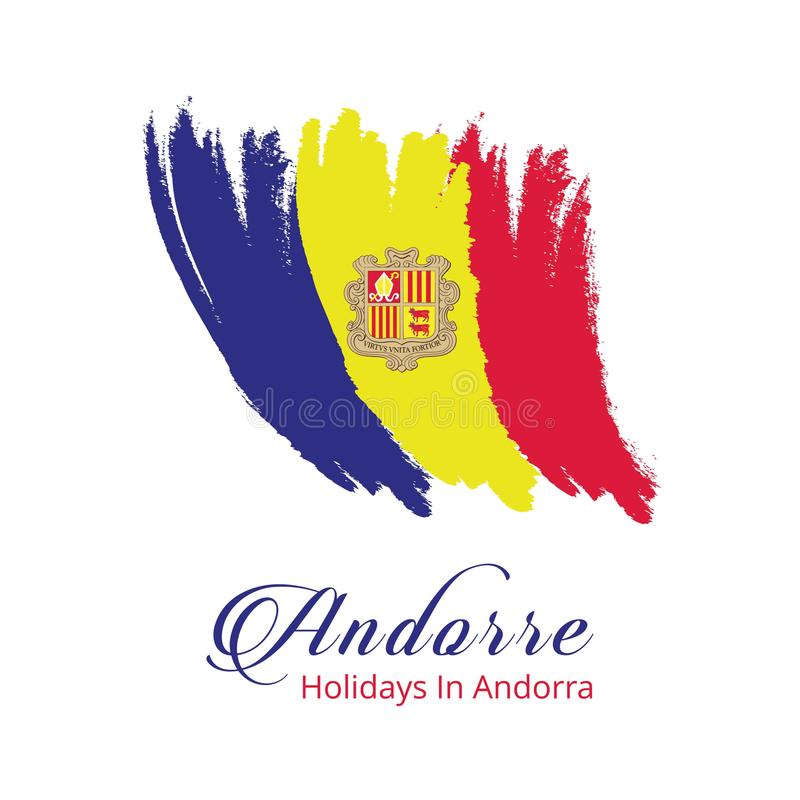 Andorra Independence Day Brush Stroke Effect country flag template. For web design and application interface, also useful for infographics. Vector illustration stock illustration