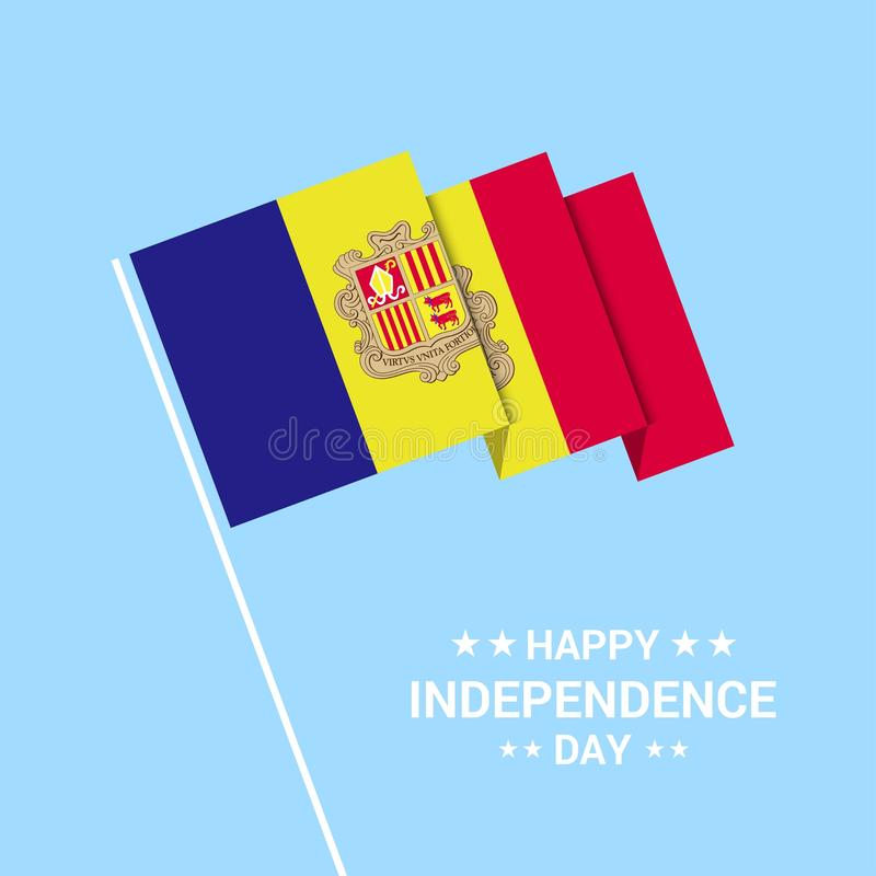 Andorra Independence day typographic design with flag vector. This Vector EPS 10 illustration is best for print media, web design, application design user stock illustration