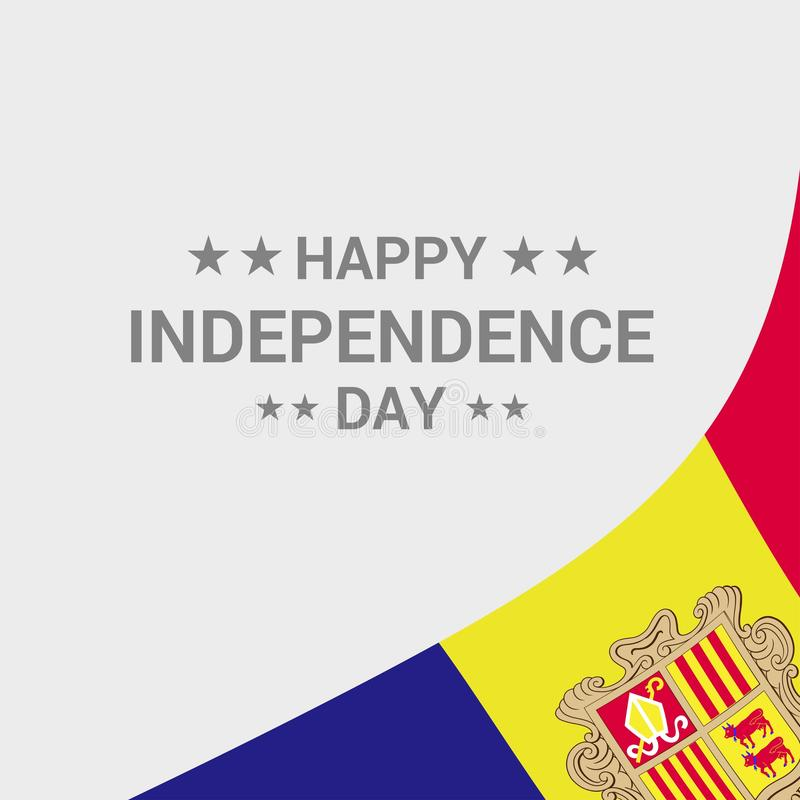 Andorra Independence day typographic design with flag vector. Andorra - This Vector EPS 10 illustration is best for print media, web design, application design royalty free illustration