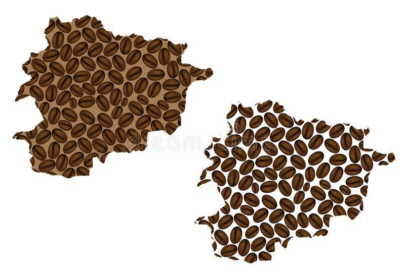 Andorra - kaart van koffieboon royalty-vrije illustratie