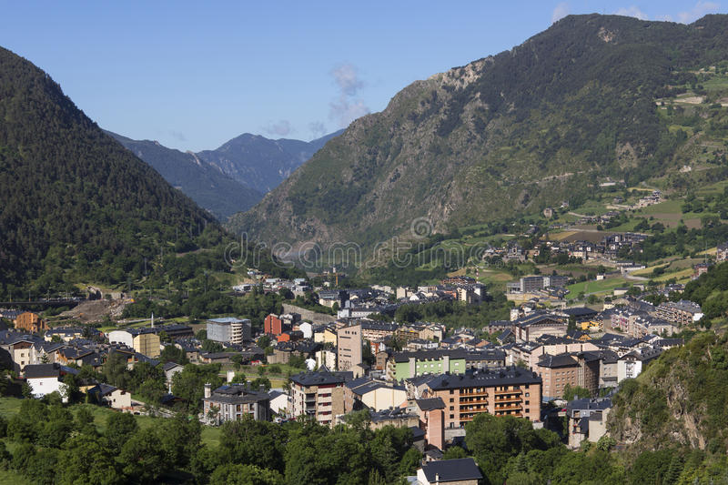 Andorra La Vella - Andorra. The main town of Andorra La Vella in the small autonomous principality of Andorra in the southern Pyrenees, between France and Spain royalty free stock photos