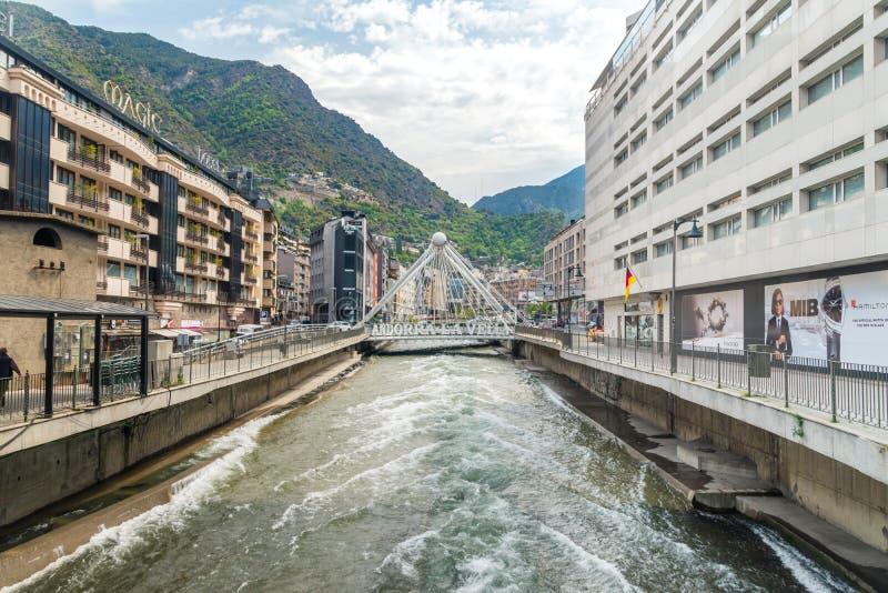 Bridge with sign Andorra La Vella over La Valira river royalty free stock image