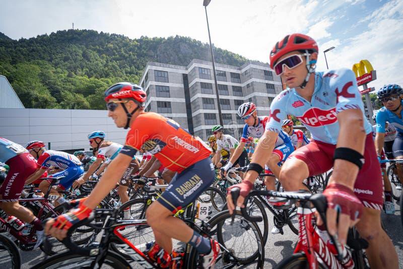 Andorra la Vella, Andorra. September 2019: Cyclists of the Vuelta de Espana just after the beginning of the race. Andorra la Vella, Andorra. September 2019 royalty free stock photo
