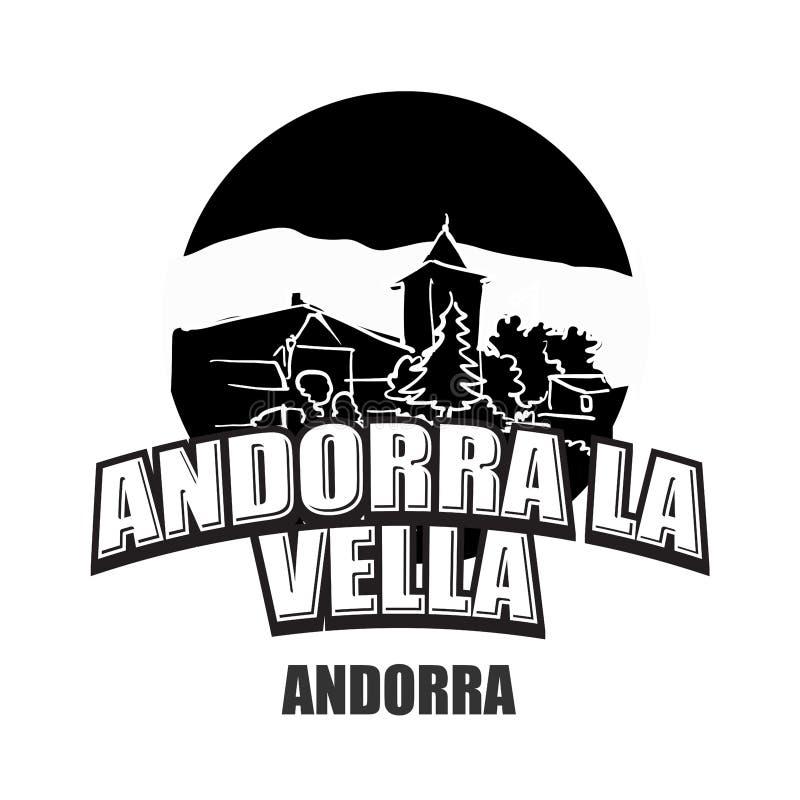 Andorra la Vella black and white logo. For high quality prints. Hand drawn vector sketch royalty free illustration