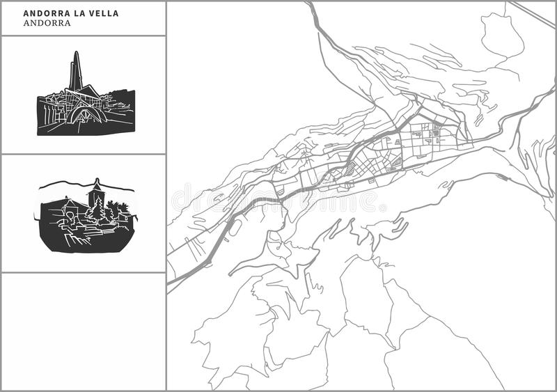 Andorra la Vella city map with hand-drawn architecture icons. All drawigns, map and background separated for easy color change. Easy repositioning in vector vector illustration