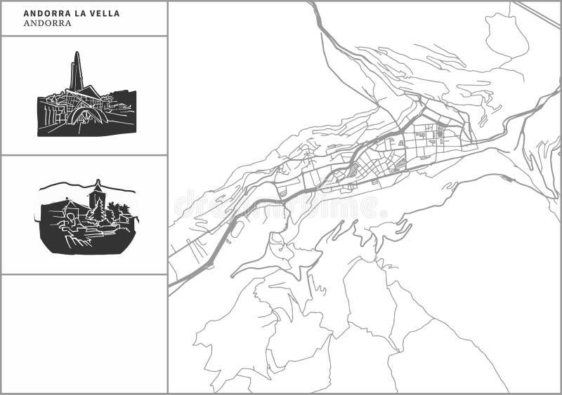 Andorra la Vella city map with hand-drawn architecture icons vector illustration
