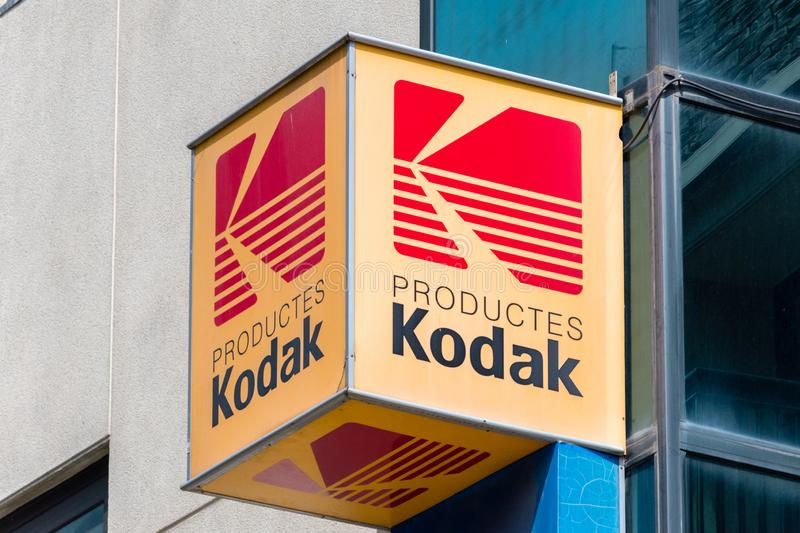 Logo and sign of Kodak. Andorra la Vella, Andorra - June 3, 2019: Logo and sign of Kodak. Kodak Company is an American technology company that produces camera royalty free stock images