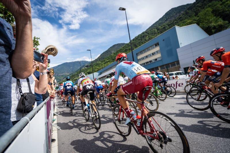 Andorra la Vella, Andorra. September 2019: Cyclists of the Vuelta de Espana just after the beginning of the race. Andorra la Vella, Andorra. September 2019 stock image