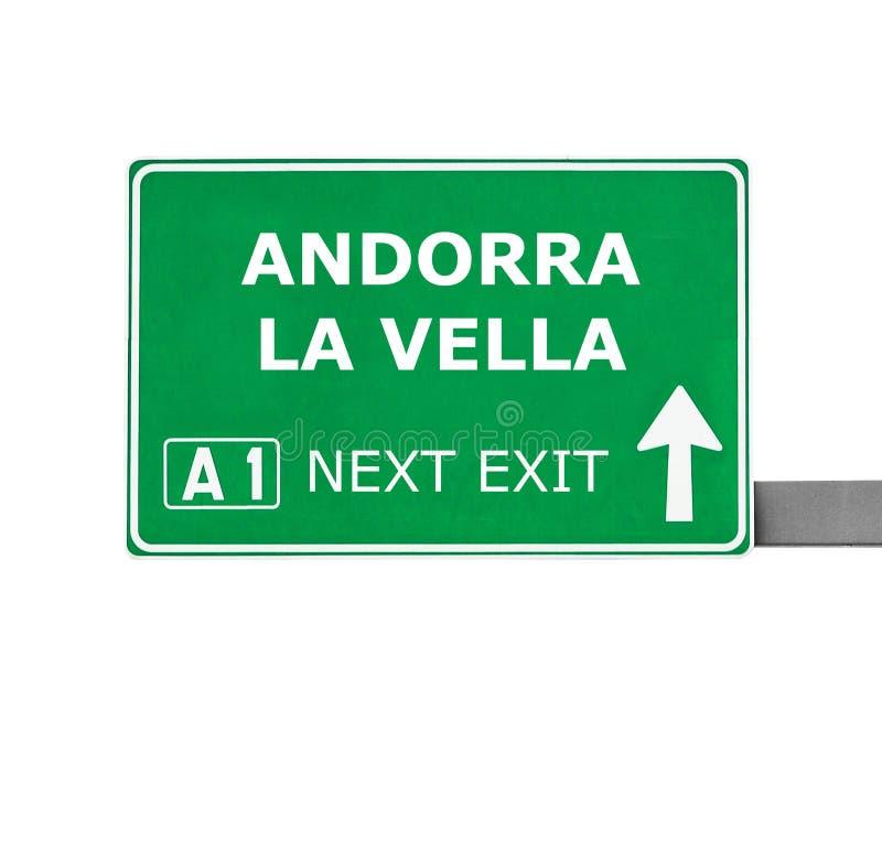 ANDORRA losu angeles VELLA drogowy znak odizolowywający na bielu zdjęcie stock