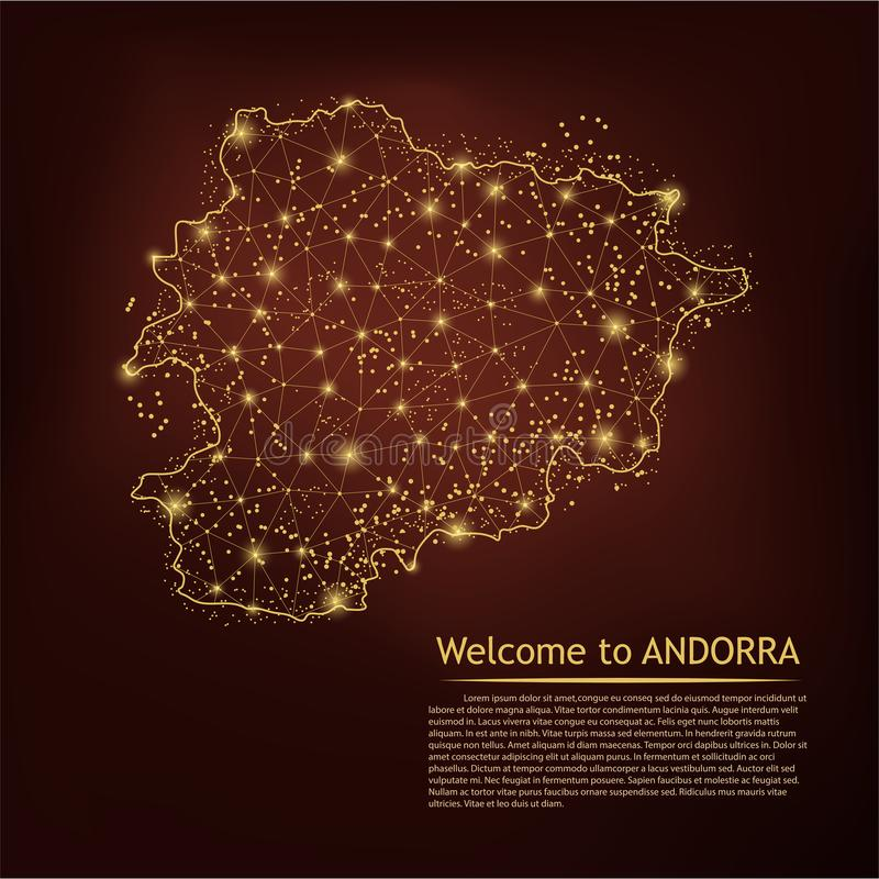 ANDORRA map. Abstract mash line and point scales on dark geometric background. Wire frame 3D Mesh polygonal network line, design vector illustration