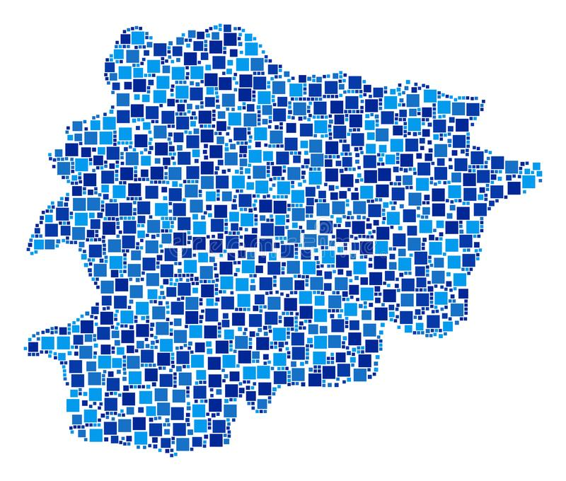 Andorra Map Composition of Squares. Andorra map composition of random dots in different sizes and blue color tints. Vector square dots are composed into Andorra vector illustration