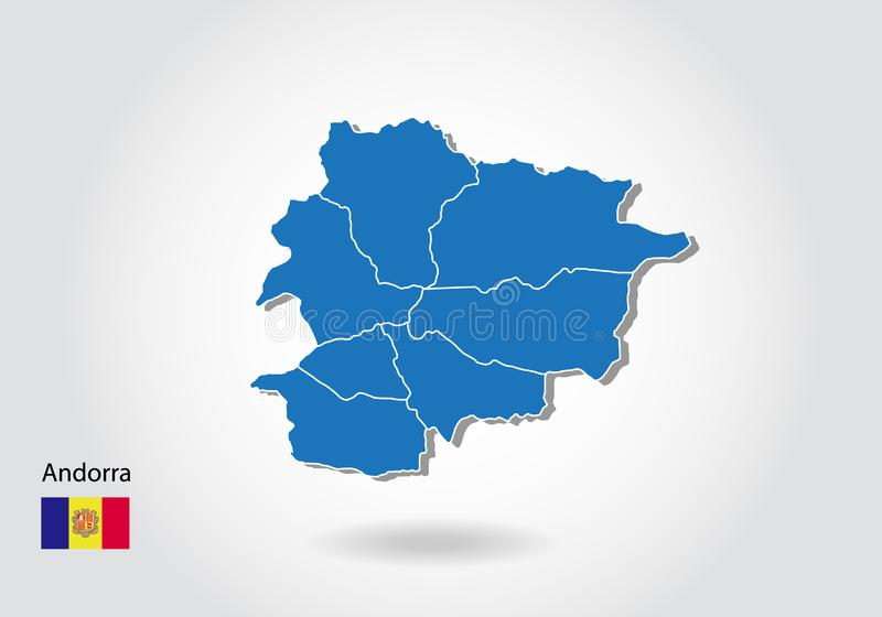 Andorra map design with 3D style. Blue andorra map and National flag. Simple vector map with contour, shape, outline, on white stock illustration