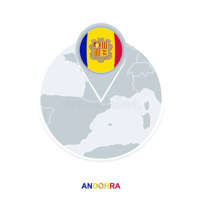 Andorra map and flag, vector map icon with highlighted Andorra vector illustration