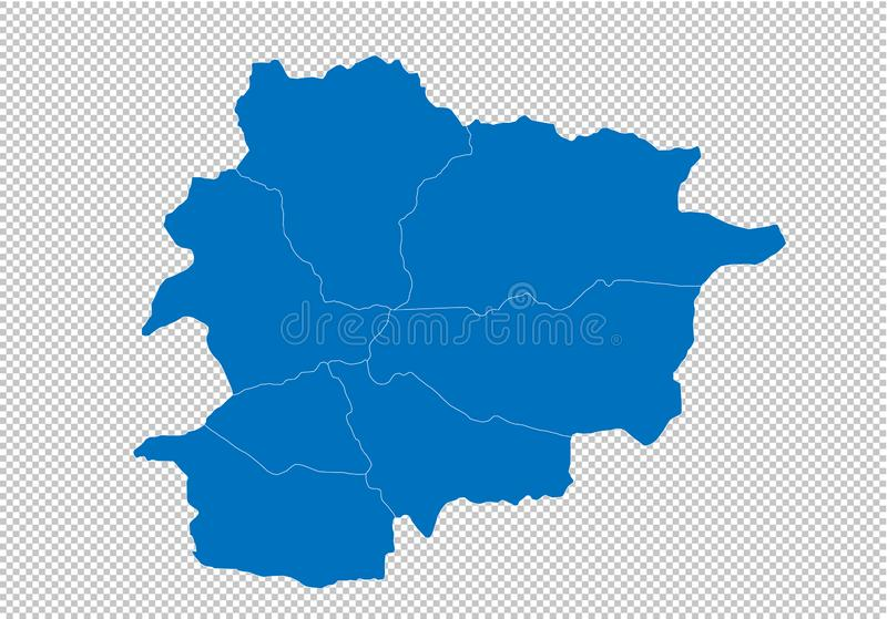 Andorra map - High detailed blue map with counties/regions/states of andorra. andorra map isolated on transparent background. Vector map stock illustration