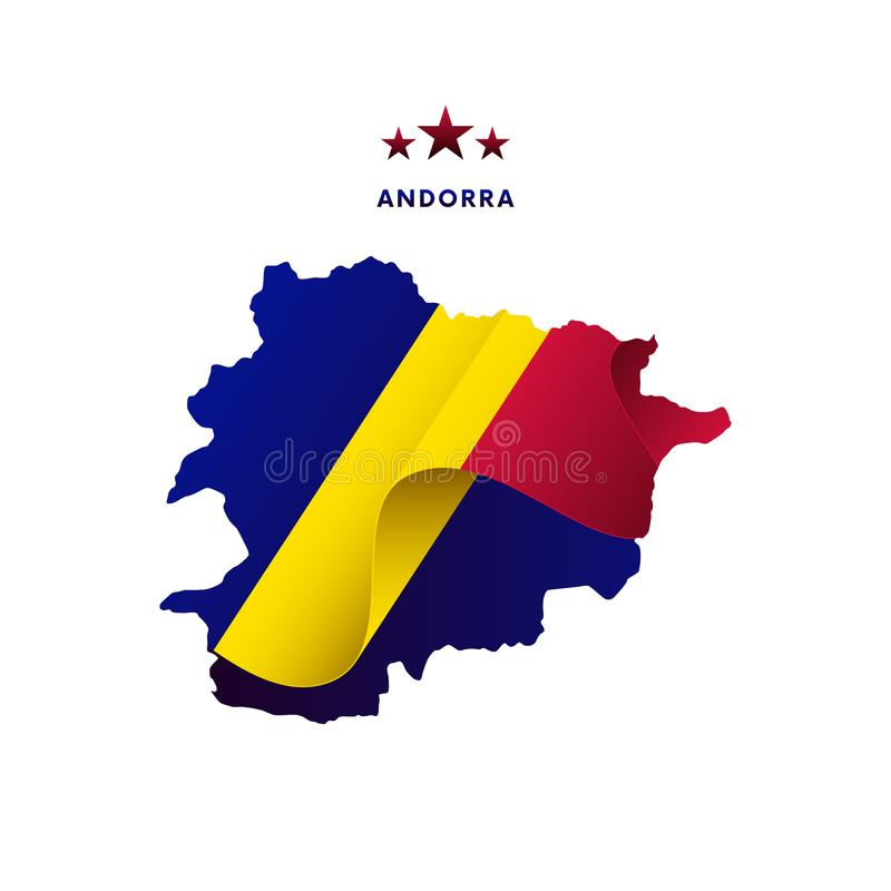 Andorra map with waving flag. Vector illustration. Andorra map with waving flag. Waving flag royalty free illustration
