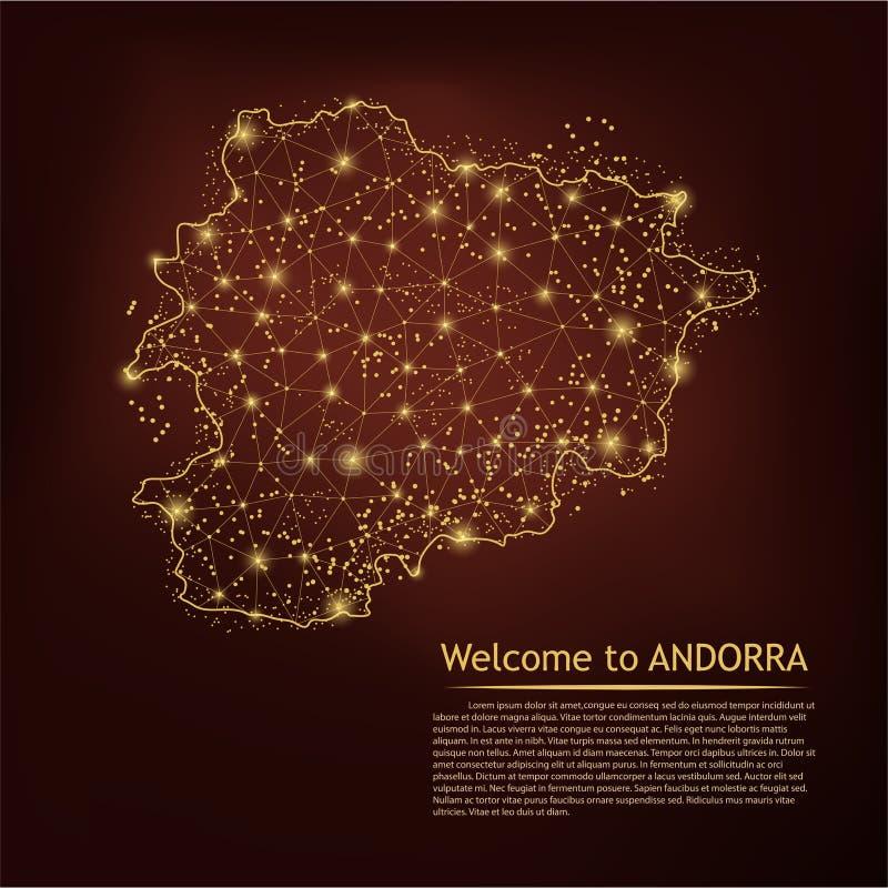 Andorra mapa Abstrakcjonistyczne breja punktu i linii skale na ciemnym geometrycznym tle Drucianej ramy 3D siatki sieci poligonal ilustracja wektor