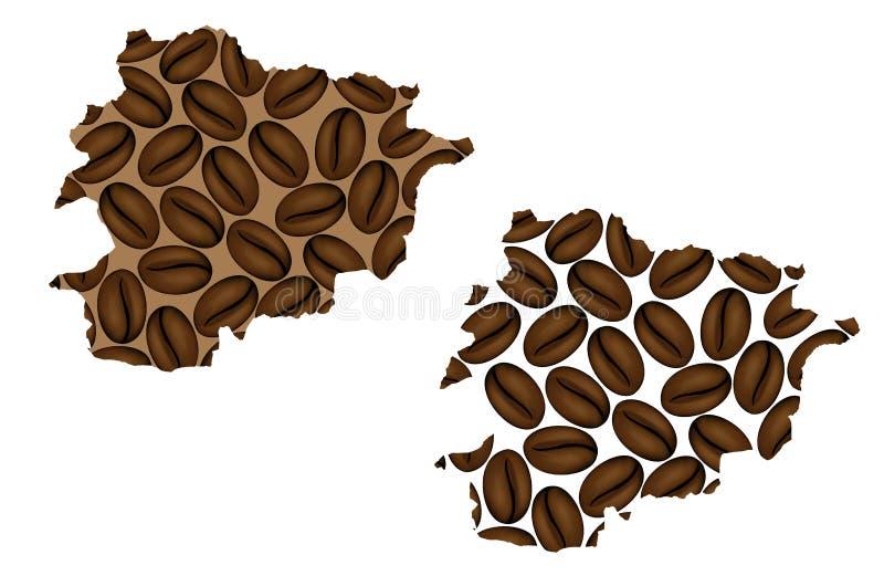 Andorra - mapa kawowa fasola ilustracja wektor