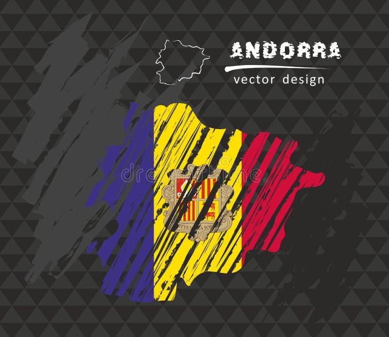 Andorra national vector map with sketch chalk flag. Sketch chalk hand drawn illustration. Vector sketch map of Andorra with flag, hand drawn chalk illustration vector illustration