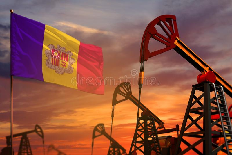 Andorra oil industry concept. Industrial illustration - Andorra flag and oil wells with the red and blue sunset or sunrise sky. Andorra oil industry concept vector illustration