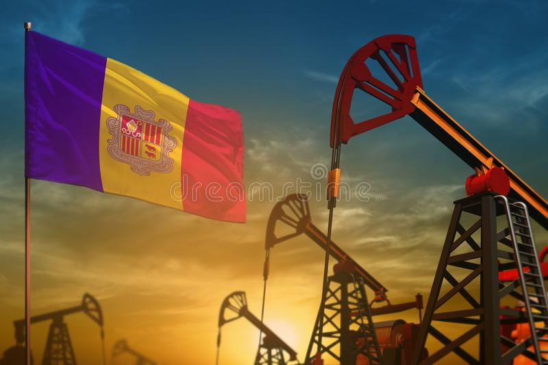 Andorra oil industry concept. Industrial illustration - Andorra flag and oil wells against the blue and yellow sunset sky. Andorra oil industry concept royalty free illustration