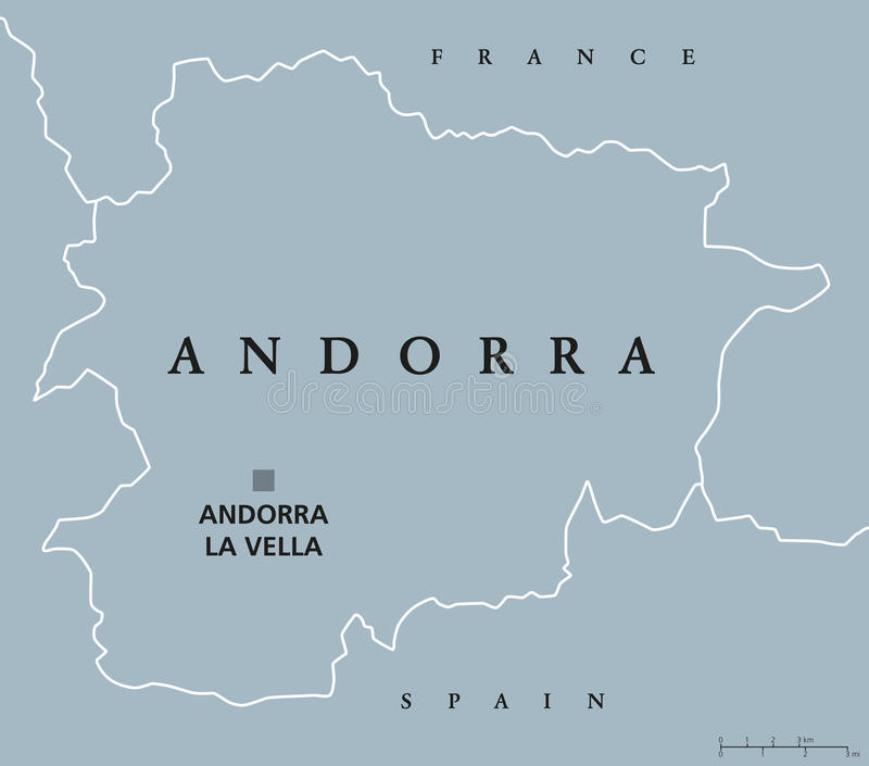 Andorra political map stock illustration