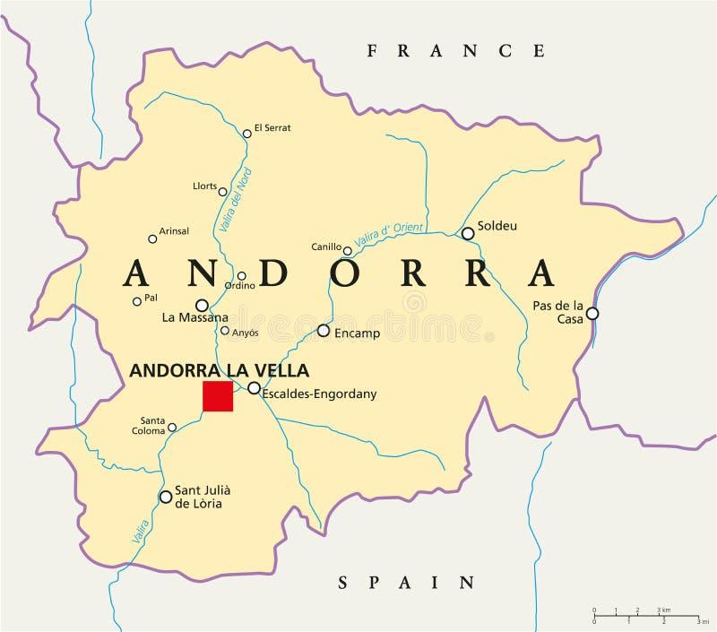 Andorra politisk översikt stock illustrationer