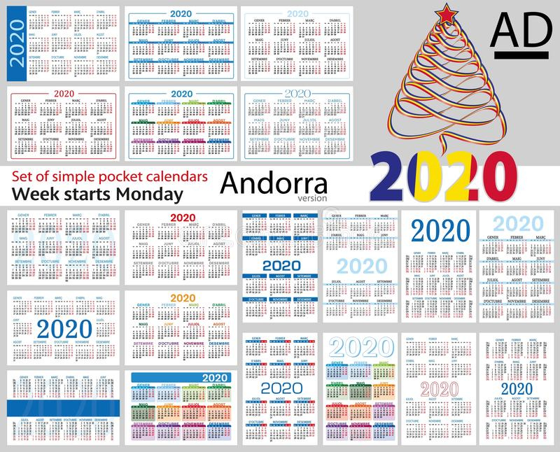 Andorra set of pocket calendars for 2020. Two thousand nineteen. Week starts Monday. New year. Color simple design. Vector stock illustration