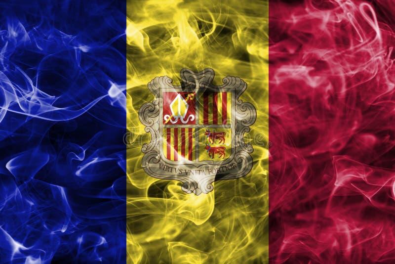 Andorra smoke flag. Isolated on a black background royalty free illustration