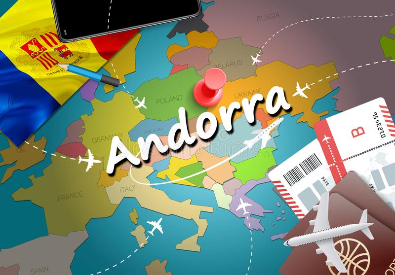 Andorra travel concept map background with planes, tickets. Visit Andorra travel and tourism destination concept. Andorra flag on royalty free illustration