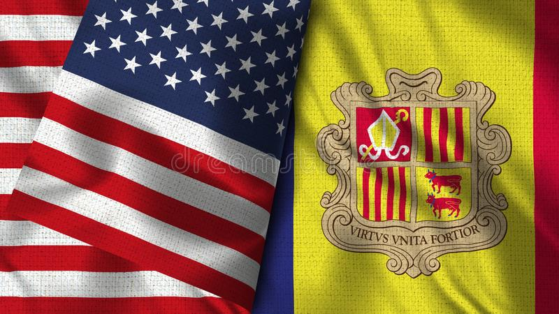 Andorra and Usa Flag - 3D illustration Two Flags. Andorra and Usa Flag - 3D illustration Two Flag - Realistic Two Flag Together High Quality royalty free illustration