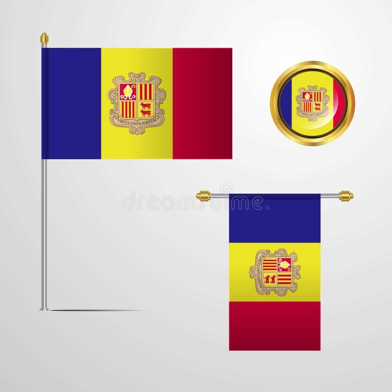 Andorra waving Flag design with badge vector. Andorra - This Vector EPS 10 illustration is best for print media, web design, application design user interface royalty free illustration