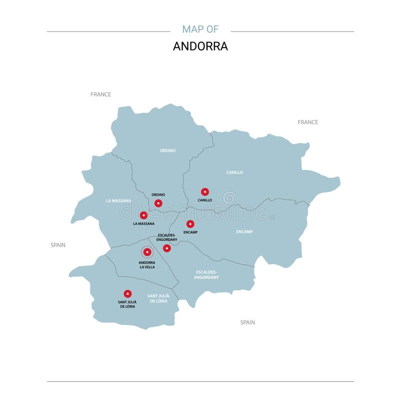 Andorra map vector with red pin. Andorra vector map. Editable template with regions, cities, red pins and blue surface on white background stock illustration