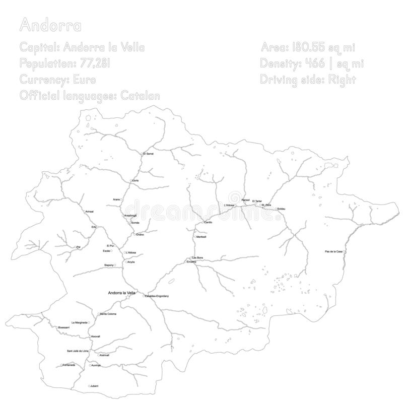 Andorra vector map and infographic design. Detailed map and infographic of Andorra stock illustration