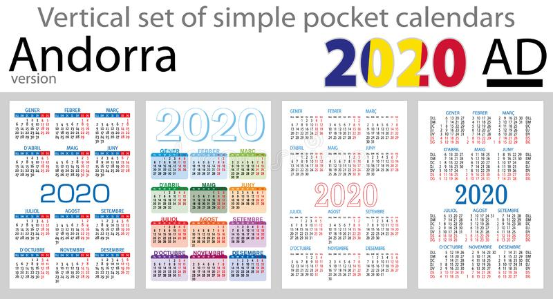 Andorra vertical set of pocket calendars for 2020. Two thousand nineteen. New year. Color simple design. Vector vector illustration