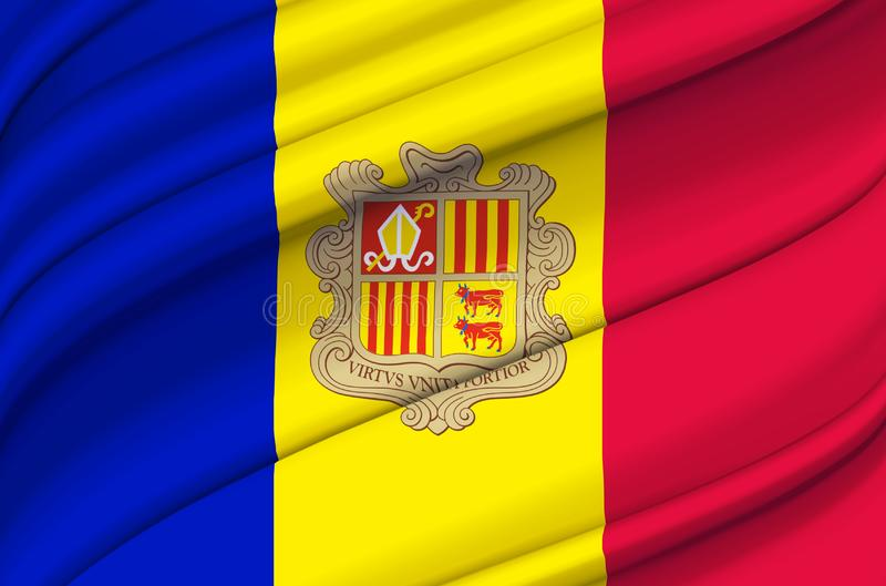 Andorra waving flag illustration. Countries of Europe. Perfect for background and texture usage royalty free illustration