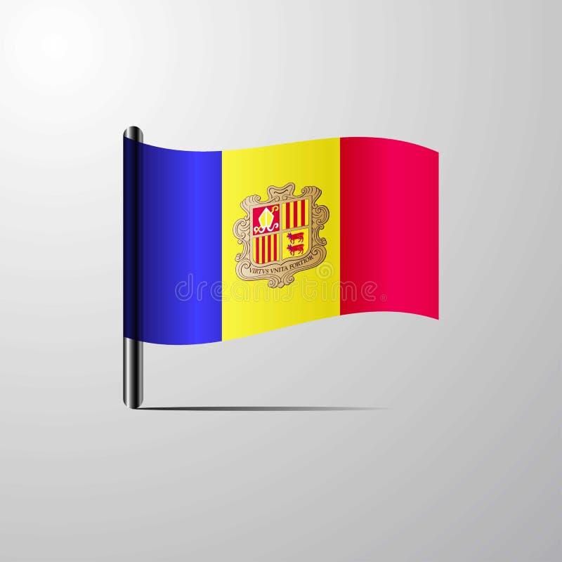 Andorra waving Shiny Flag design vector. This Vector EPS 10 illustration is best for print media, web design, application design user interface and stock illustration