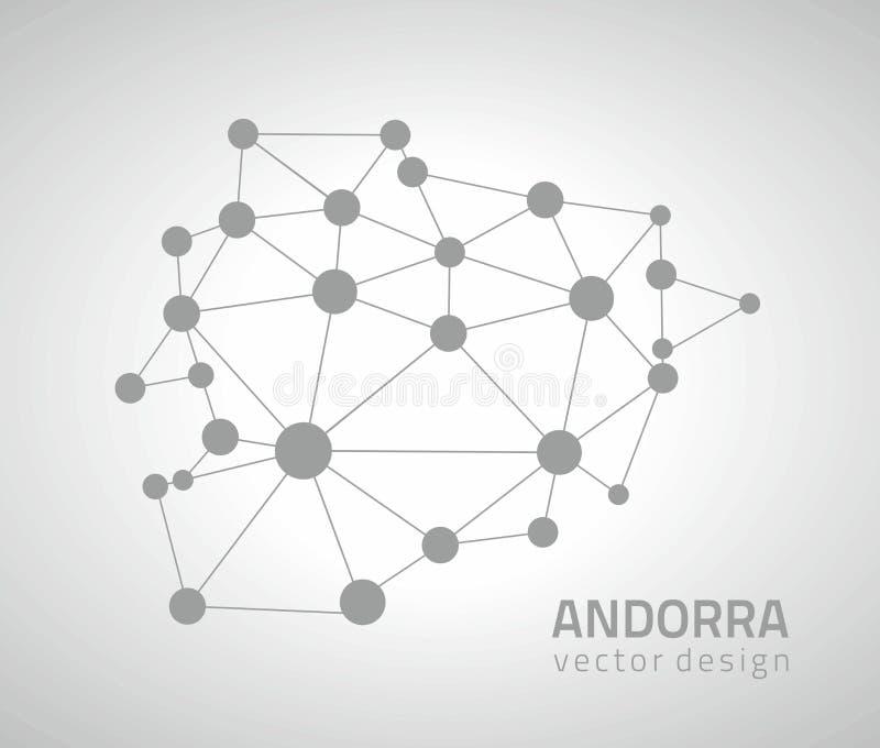 Andorra wektoru mozaiki popielatej perspektywicznej kropki modna mapa ilustracji