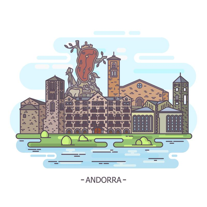 Andorra landmarks or Andorran architecture. Andorran architecture landmark buildings. Esglesia Sant Esteve and Sant Joan Caselles church at Canillo. Andorra de vector illustration