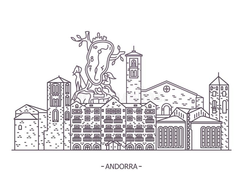Andorran architecture landmarks. Andorran architecture landmark buildings. Esglesia Sant Esteve and Sant Joan Caselles church at Canillo. Andorra de vella, La vector illustration