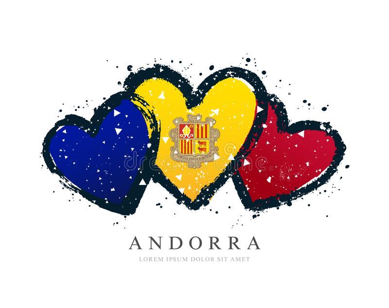 Andorran flag in the form of three hearts. Vector illustration on a white background. Brush strokes are drawn by hand. Andorra Independence Day vector illustration
