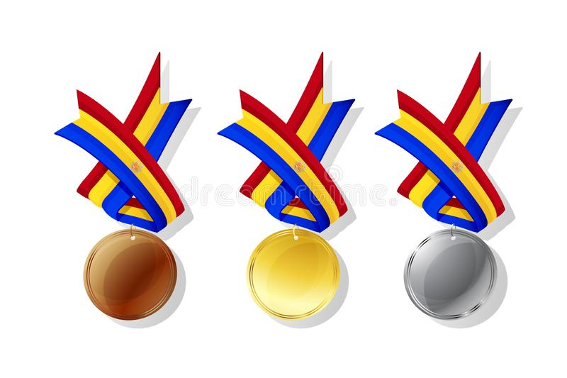 Andorrian vector medals set. Andorrian medals in gold, silver and bronze with national flag. Isolated vector objects over white background vector illustration